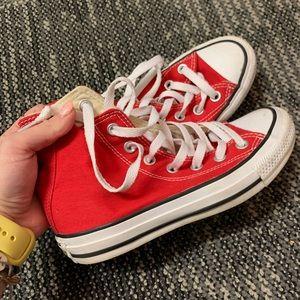 Red hi-top Converse